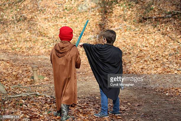 Friends Exploring Woods