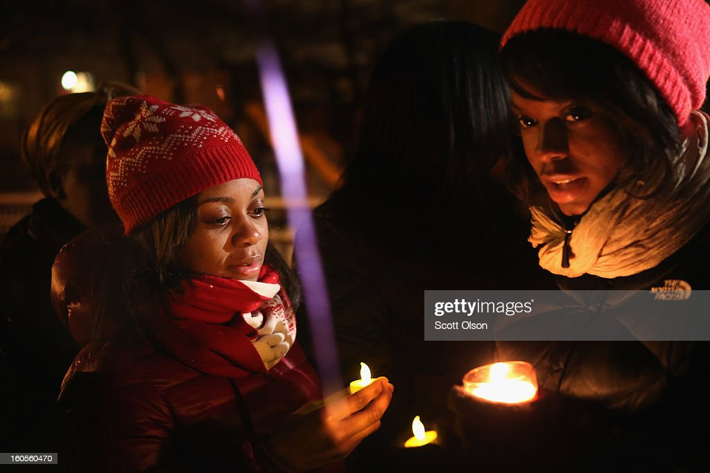 Friends, fellow students, and others hold a candlelight vigil at Harsh Park in memory of Hadiya Pendleton on February 2, 2013 in Chicago, Illinois. Pendleton, a fifteen-year-old high school honor student, was shot and killed while hanging out with friends on a rainy afternoon under a shelter in the park on January 29. A $40,000 reward has been raised to help find her killer. Pendleton was the 44th homicide recorded in Chicago for 2013.