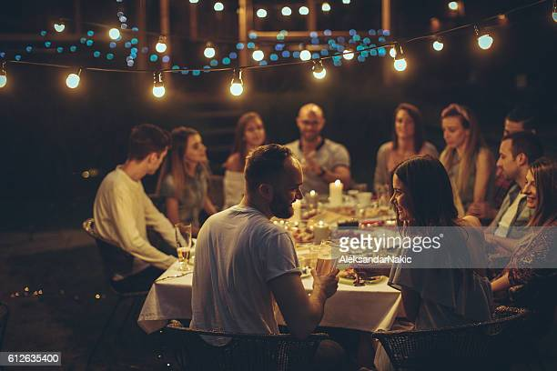 Friends gathered over dinner
