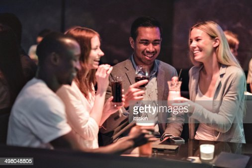 Friends gathering in the club