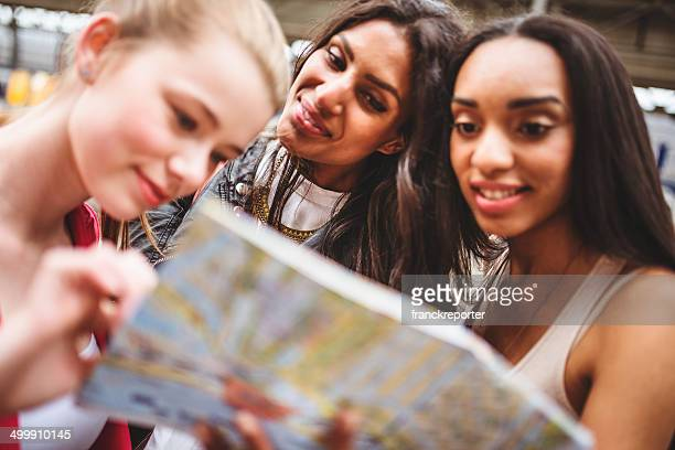 friends happiness on the city with map