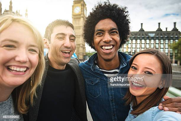 Friends have fun in London