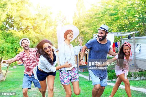 Friends having fun and dancing