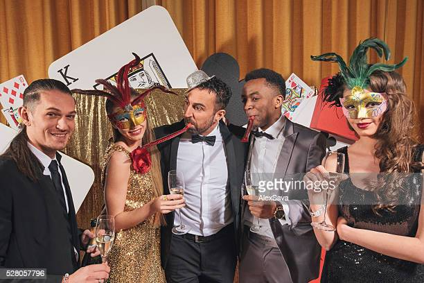 Friends having fun at a glamourous party