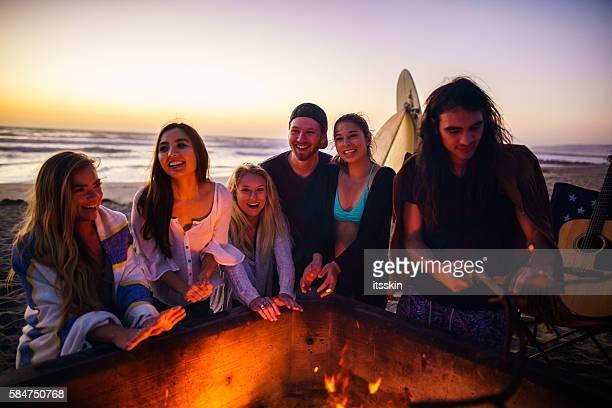 Friends having fun at San Diego beach