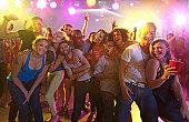 Friends having fun in a nightclub