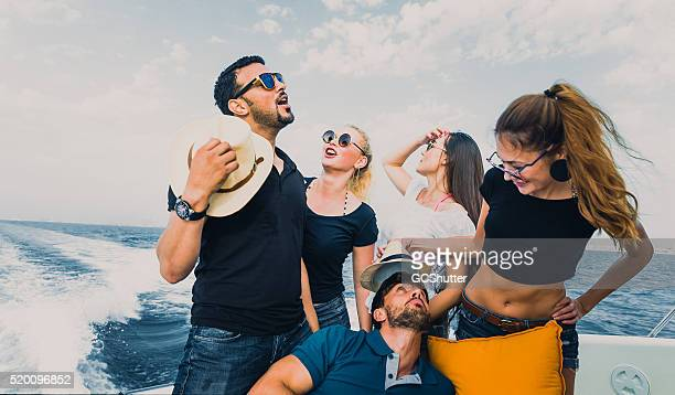 Friends Having Fun on a Yacht
