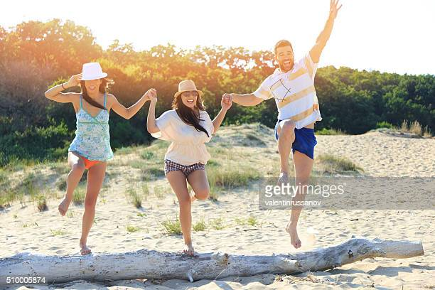 Friends having fun on the beach