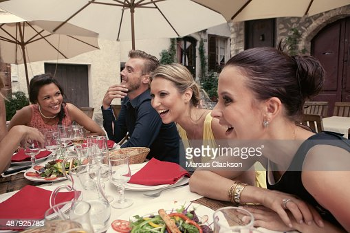 Friends having lunch in Provence.South of France : Stock Photo