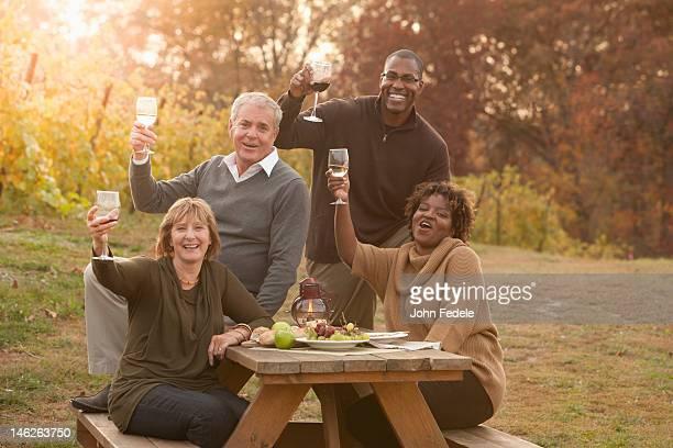 Amis ayant un pique-nique et de boire du vin