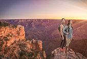Friends Hiking South Rim Grand Canyon HDR photo