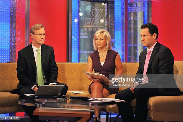 FOX Friends hosts Steve Doocy Gretchen Carlson and Brian Kilmeade at FOX Friends FOX Studios on April 20 2011 in New York City
