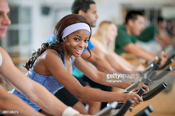 Friends in a Bicycle Spinning Exercise Class