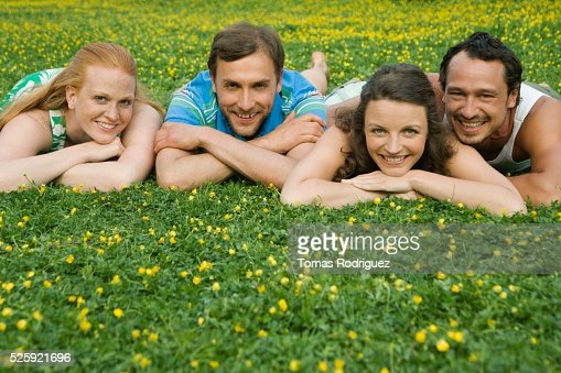 Friends in a Meadow : Stock Photo