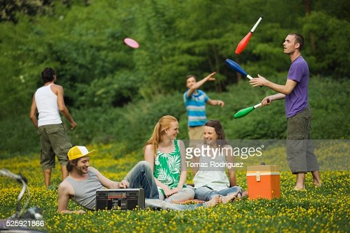 Friends in a Meadow : Bildbanksbilder