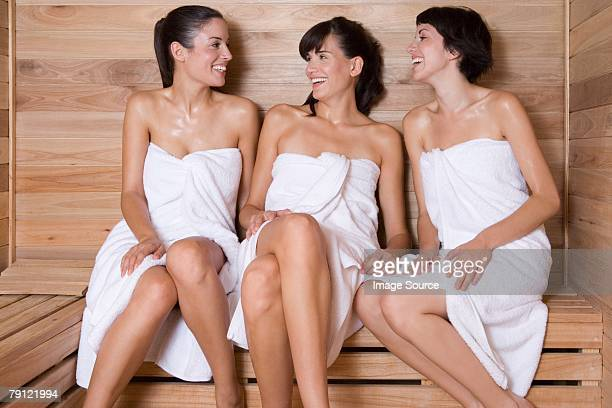 Friends in a sauna