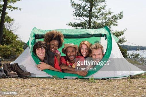 Friends in a tent : Foto de stock