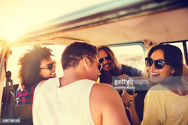 Friends in camper van