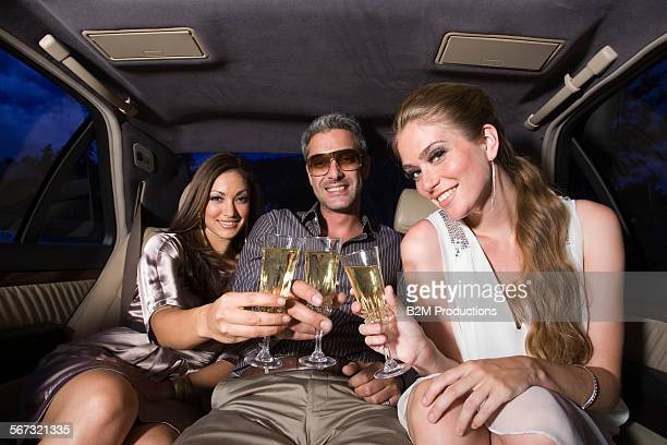 Friends in limo