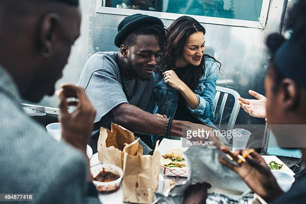 Friends in New York at Food Cart