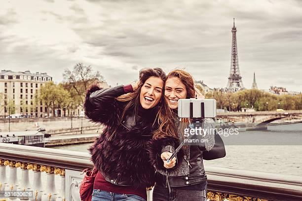 Friends in Paris taking selfie