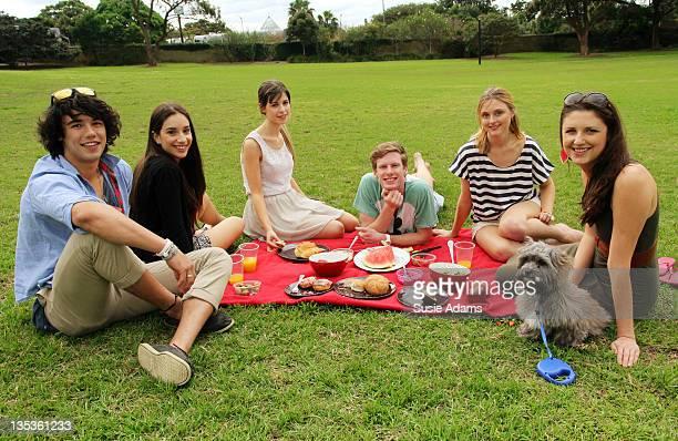 Friends in park, having picnic