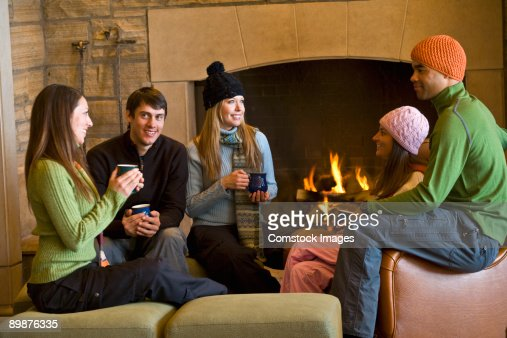 friends in ski lodge