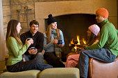 friends in ski lodge