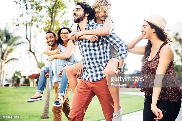 Friends in Summer Park