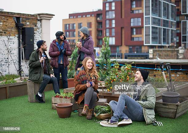 Friends in urban roof garden conversing.
