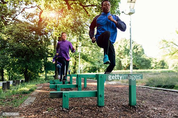 Friends jogging in the park.