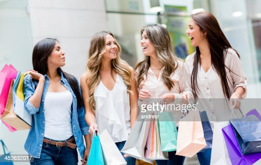 Friends leaving the shopping mall