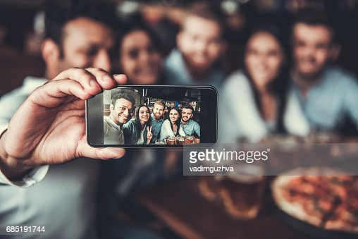 Friends makes selfie : Foto de stock