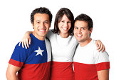 Friends making a Chile flag