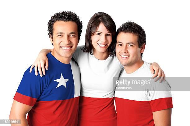 Amigos haciendo un Chile bandera
