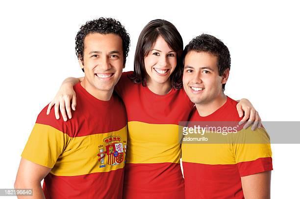 Amigos haciendo una bandera española