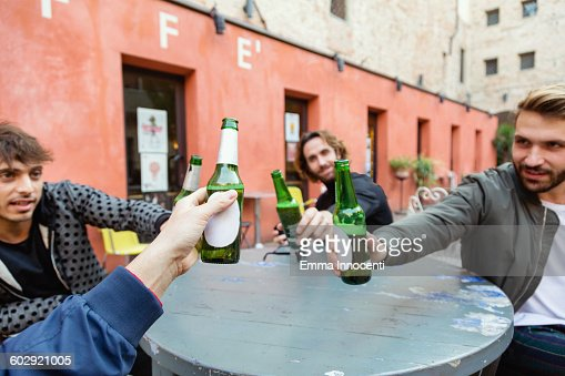 Friends making a toast sitting outdoor