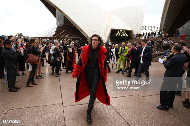 Friends of model Imogen Anthony are seen on the steps of the Sydney Opera House ahead of the MercedesBenz Fashion Week Resort 18 Collections on May...