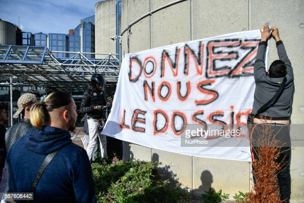 friends of Yacine ben Kahlal stamped a banner for proclaiming truth and justice in the yacine case in Paris France on October 4 2017