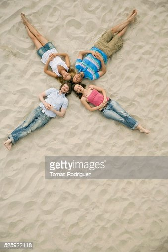 Friends on a Beach : Stockfoto