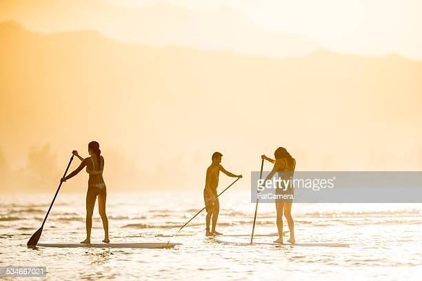 Friends on stand up paddleboards (SUP)