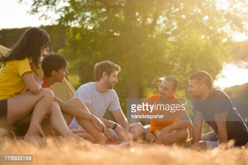 Friends on summer Camping vacation