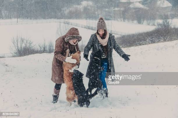 Friends on the snow