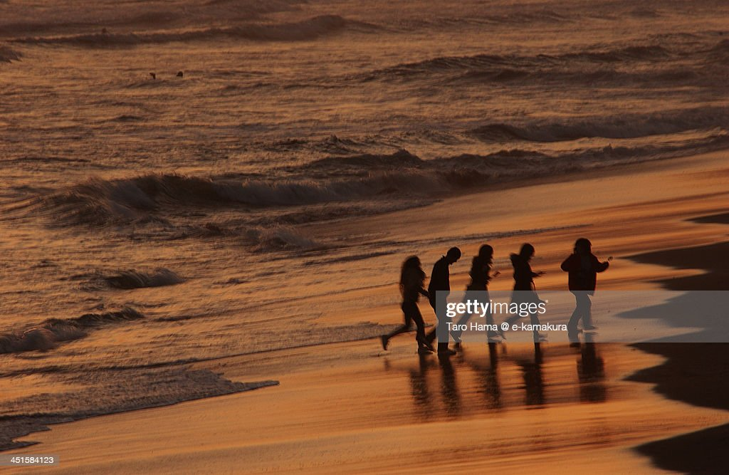 Friends on the Sunset Beach : Stock Photo