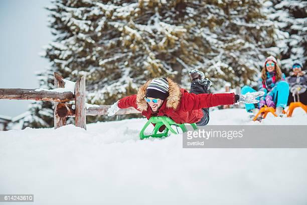 Freunde auf winter-Urlaub