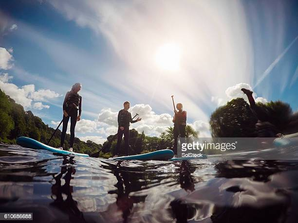 Friends Paddleboarding