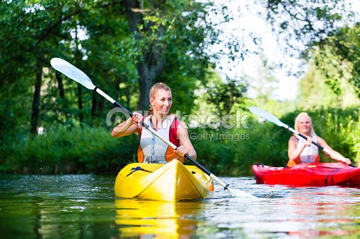 Friends paddling with canoe on forest river : Stock Photo