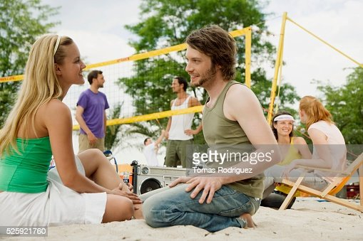Friends Playing Beach Volleyball : Stock-Foto
