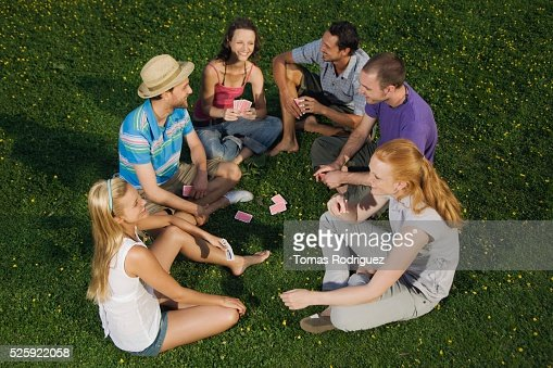 Friends Playing Cards : Stockfoto