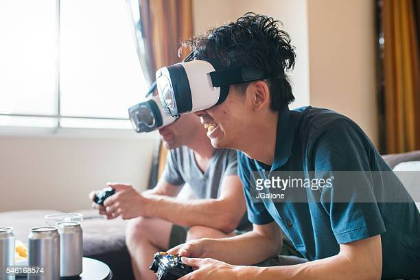 Friends playing games using virtual reality headsets